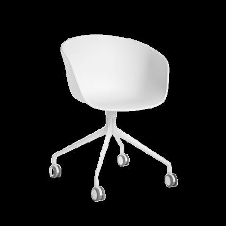 HAY Bureaustoel Wieltjes AAC 24 Wit Kunststof Gepoedercoat Aluminium 59x52x79cm