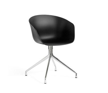 HAY Bureaustoel Draaiend AAC 20 Zwart Kunststof Gepolijst Aluminium 59x52x79cm