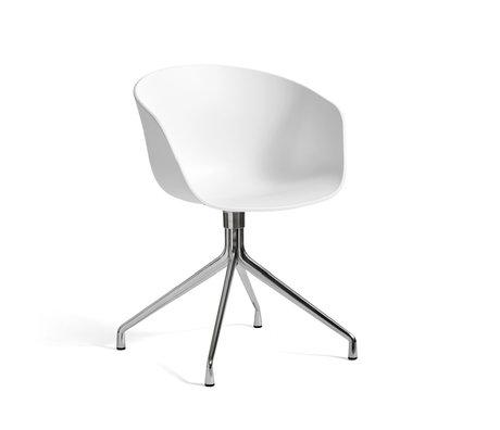 HAY Bureaustoel Draaiend AAC 20 Wit Kunststof Gepolijst Aluminium 59x52x79cm