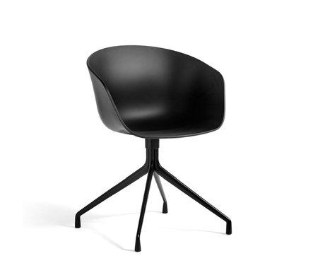 HAY Bureaustoel Draaiend AAC 20 Zwart Kunststof Gepoedercoat Aluminium 59x52x79cm