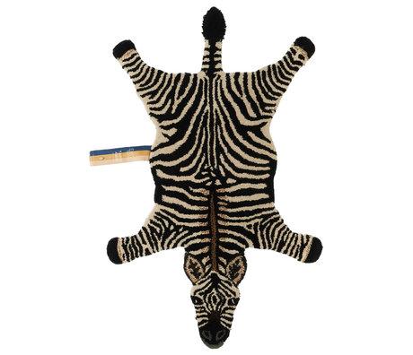 Doing Goods Rug Stripey Zebra small black white wool cotton 102x67x2cm