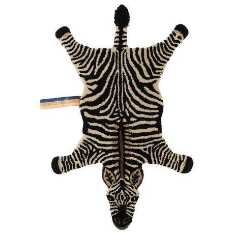 Doing Goods Teppich Stripey Zebra klein schwarz weiß Wolle Baumwolle 102x67x2cm