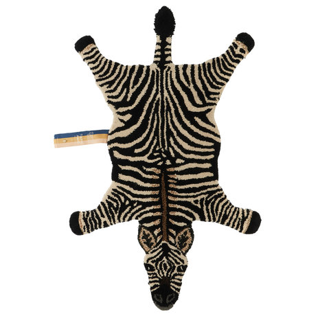 Doing Goods Vloerkleed Stripey Zebra small zwart wit wol katoen 102x67x2cm