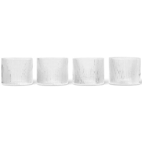 Ferm Living Glas Ripple Low Transparant Glas Ø7,6x6,1cm set van 4