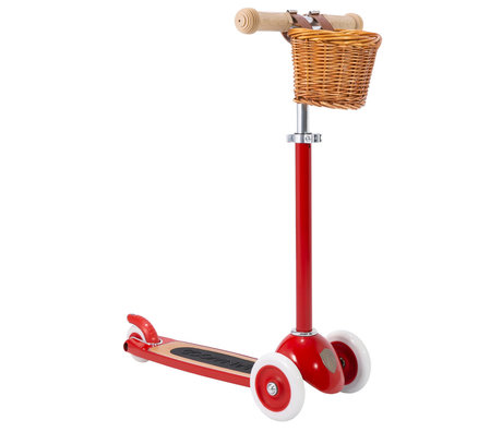 Banwood Scooter / Step Rood Alloy Eikenhout 29,7x9,6x70/75/80cm