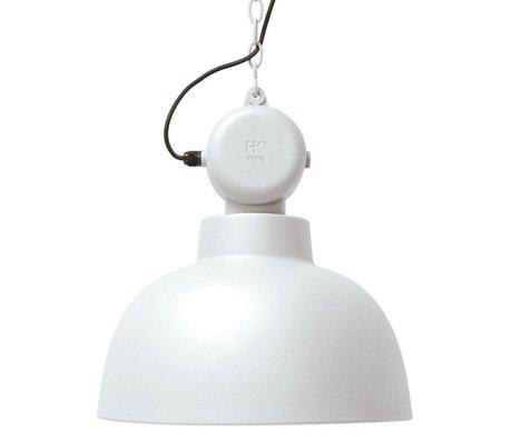 HK-living lampe suspension usine blanc mat Ø50cm LARGE métallique
