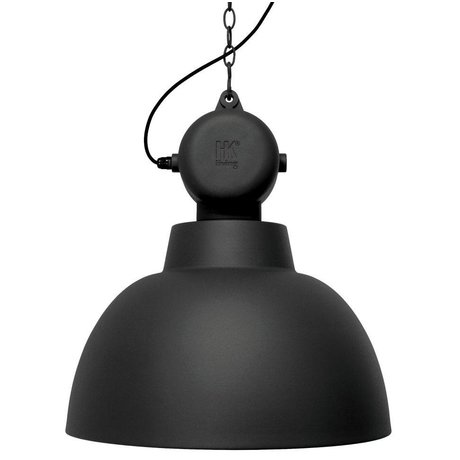 HK-living Pendant Lamp Factory LARGE black matte metal ø50cm