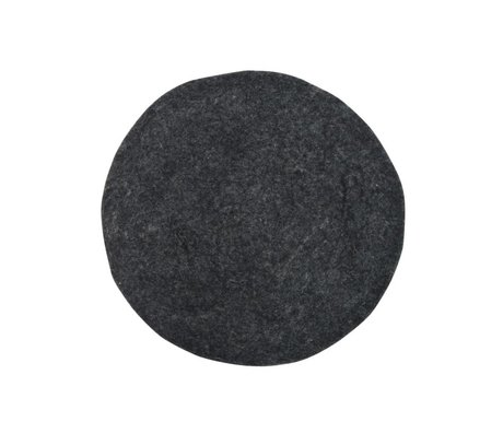 HK-living Decorative Pillow felt seat cushion charcoal Ø35cm