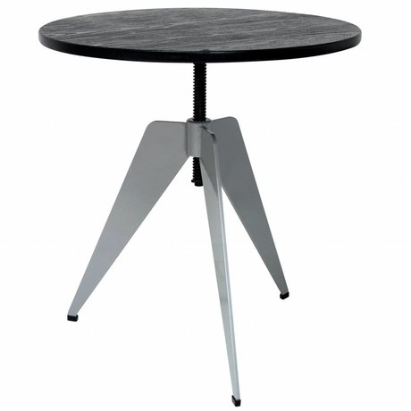 HK-living Industrial side table with gray metal frame and black bamboo leaf 60x60x50-67cm