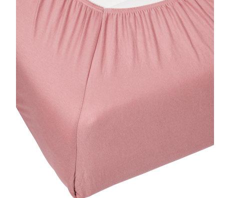ESSENZA Hoeslaken Premium Jersey Fitted Sheet Dusty Roze Katoen 90/100x200/220cm