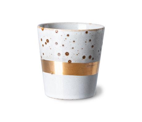 HK-living Koffiemok 70's Gem Grijs Goud Keramiek ø7,5x8cm