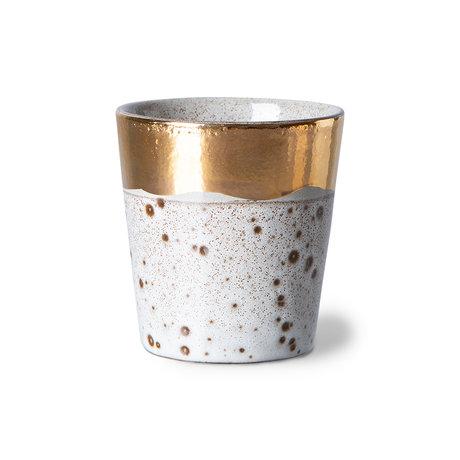 HK-living Koffiemok 70's Sparkle Grijs Goud Keramiek ø7,5x8cm