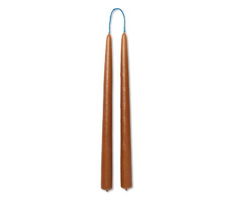 Ferm Living Kaarsen Dipped Bruin Wax Ø2,2x30cm Set van 2
