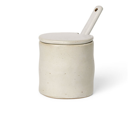 Ferm Living Pot With Spoon Flow Speckle Off White Porcelain 8x7.5x8cm