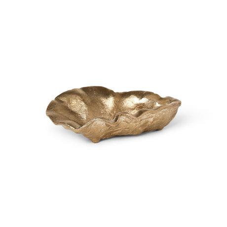 Ferm Living Schaal Oyster Goud Massief Messing 10,5x7x2,7cm