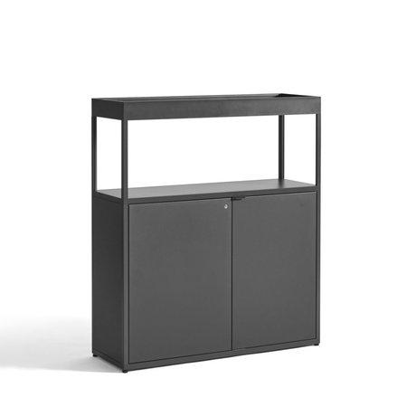 HAY Kast Comb. 204 Incl. Vloer Veiligheidsbeugel Donkergrijs Aluminium 100x34x115cm