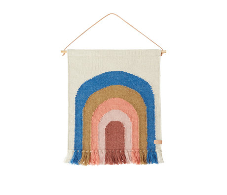 OYOY Mini Wandkleed Follow The Rainbow Blauw Multicolor Wol Katoen 55x69cm