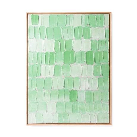 HK-living Kunstlijst Palette Abstract Groen Textiel Hout 78x5,5x103cm