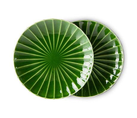 HK-living Borden Ribbed The Emeralds Groen Keramiek Ø21,6x2,8cm Set van 2