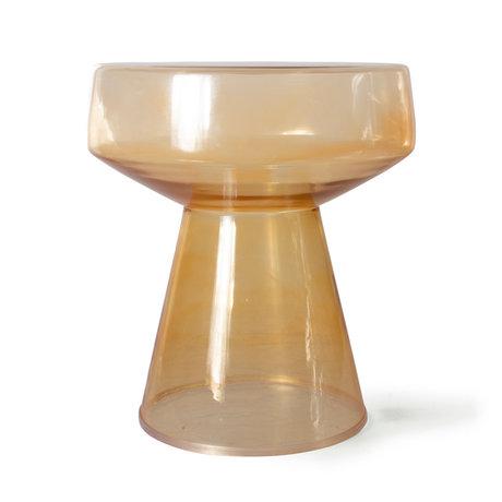 HK-living Bijzettafel Amber Oranje Bruin Glas Ø39x42cm