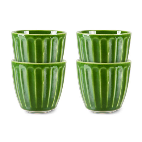 HK-living Mokjes Ribbed The Emeralds Groen Keramiek Ø8,3x8cm Set van 4