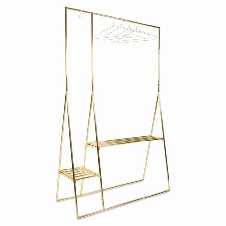 HK-living Kledingrek Met Hangers Goud Metaal 124x46x194cm