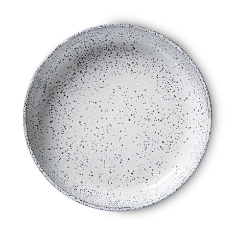HK-living Diep Bord Gradient Ceramics Gebroken Wit Spikkel Keramiek Ø21,5x4,3cm Set van 2