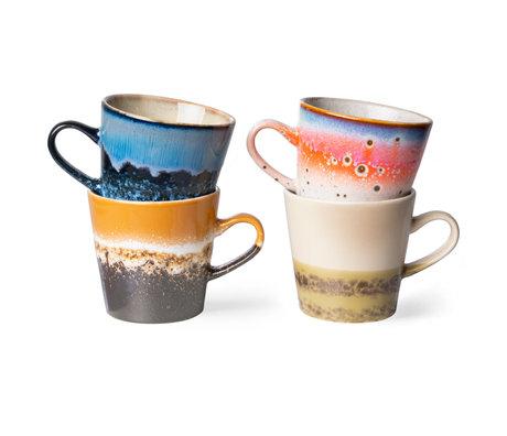 HK-living Koffiemok 70's Americano Multicolor Keramiek 11,5x8,5x8cm Set van 4