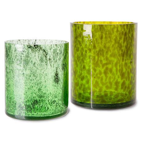 HK-living Vazen Cheetah Groen Glas 15x15x16cm / Ø18x20cm Set Van 2