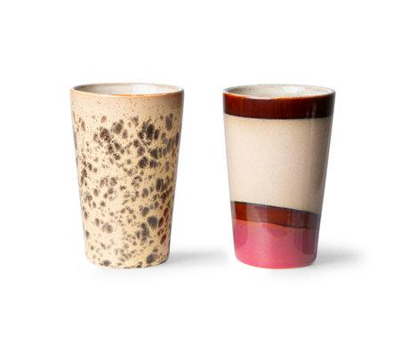 HK-living Theemokken 70s Ceramics Multicolor Keramiek Ø8,7x13,5cm Set van 2