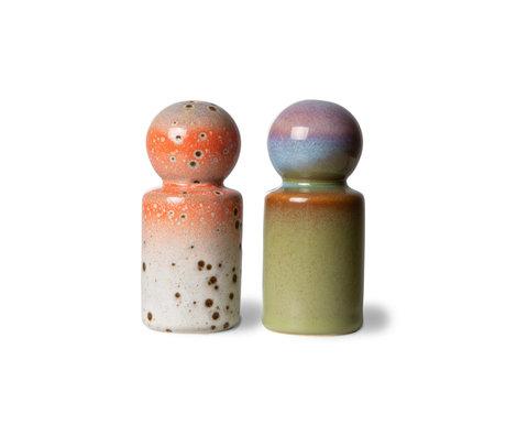 HK-living Peper & Zoutstel 70s Asteroids/Peat Multicolor Keramiek Ø4,8x9,8