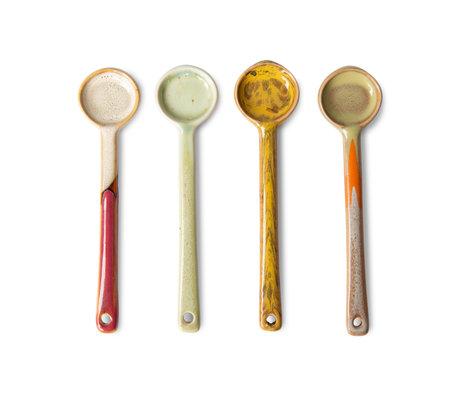 HK-living Lepels 70s Ceramics M Multicolor Keramiek 12,5x3x0,5cm Set van 4