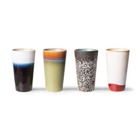 HK-living Latte Koffiemok 70s Multicolor Keramiek Ø7,5x13cm Set van 4