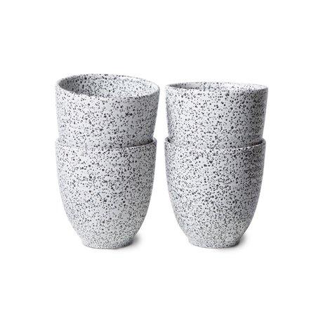 HK-living Koffiemokken Gradient Ceramics Wit Zwart Keramiek Ø8,5x9cm Set van 4