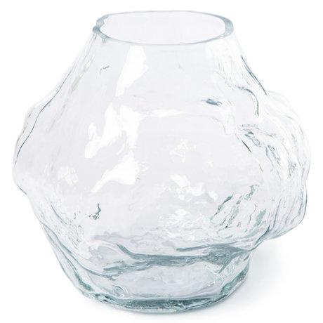 HK-living Vaas Cloud Laag Transparant Glas 28x24,5x24,5cm