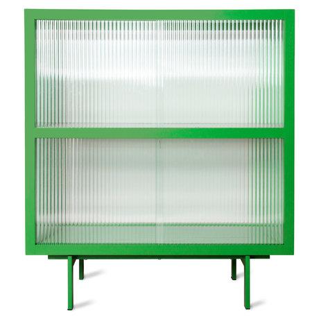 HK-living Dressoir Ribbed Groen Glas Metaal 80x40x89cm