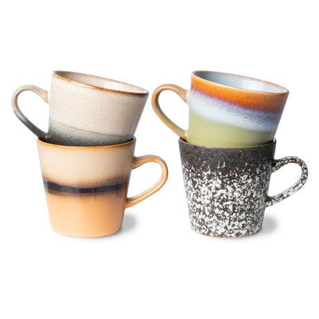 HK-living Koffiemok Americano 70s Multicolor Keramiek 11,5x8,5x8cm Set van 4