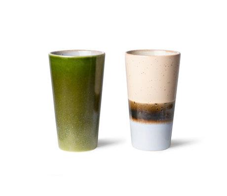 HK-living Latte Koffiemokken 70s Multicolor Keramiek Ø7,5x13cm Set van 2