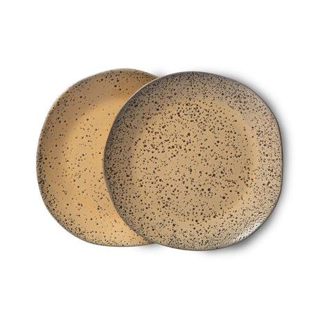 HK-living Bord Gradient Ceramics Oranje Bruin Keramiek Ø16x1,5cm Set van 2