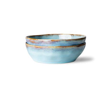 HK-living Pasta Schaal 70s Lagune Blauw Bruin Keramiek Ø19,5x5,2cm Set van 2