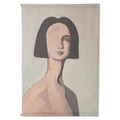 HK-living Wandkleed Woman Portrait By Sella Molenaar Multicolor Katoen Hout 70x2x100cm