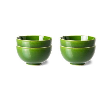 HK-living Dessert Schaal The Emeralds Groen Keramiek Ø12x6,5cm Set van 4