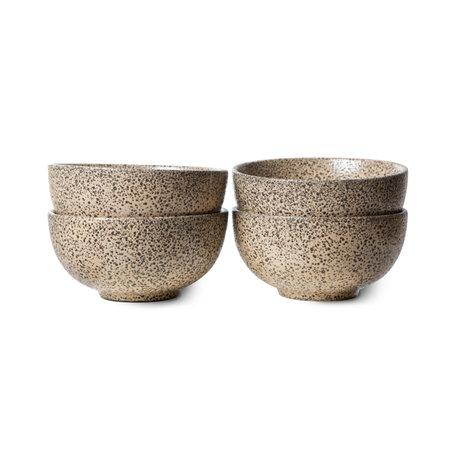 HK-living Schaal Gradient Ceramics Taupe Keramiek Ø13x6,5cm Set van 4