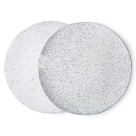 HK-living Bord Gradient Ceramics Wit Keramiek Ø29x1,7cm Set van 2