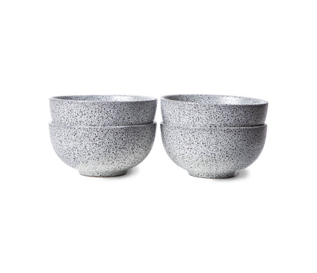 HK-living Schaal Gradient Ceramics Wit Keramiek Ø13x6,5cm Set van 4