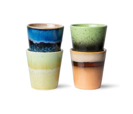 HK-living Koffiemokken Ristretto 70s Multicolor Keramiek Ø5,8x6,2cm Set van 4