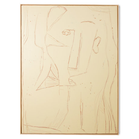 HK-living Kunstlijst Visage Geel Terra Canvas Essenhout 123x4x163cm