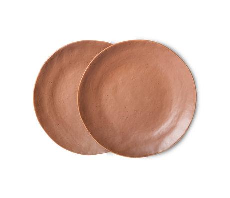 HK-living Bord Bold & Basic Ceramics Bruin Porselein Ø21,5x2,8cm Set van 2