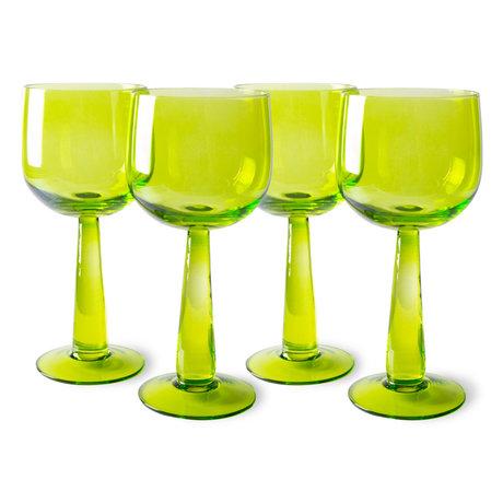 HK-living Wijnglazen The Emeralds Hoog Groen Glas Ø8x17,2cm Set van 4