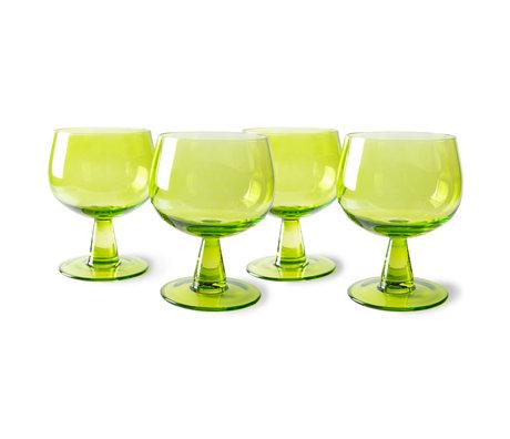 HK-living Wijnglazen The Emeralds Laag Groen Glas Ø8,5x11,5cm Set van 4